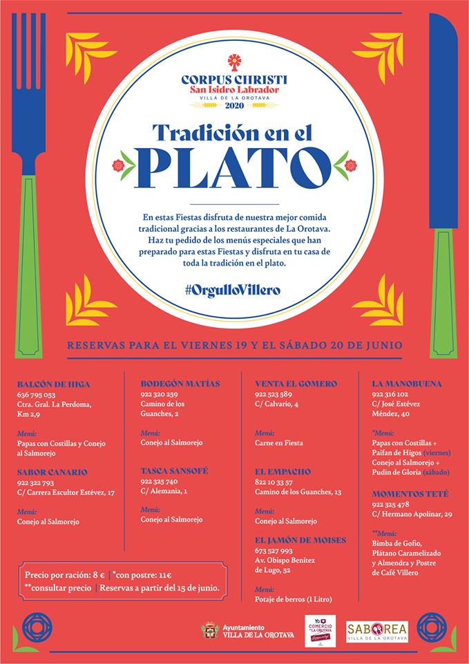 El Ayuntamiento y restaurantes de la Villa ofrecen la mejor gastronomía típica de las Fiestas de La Orotava