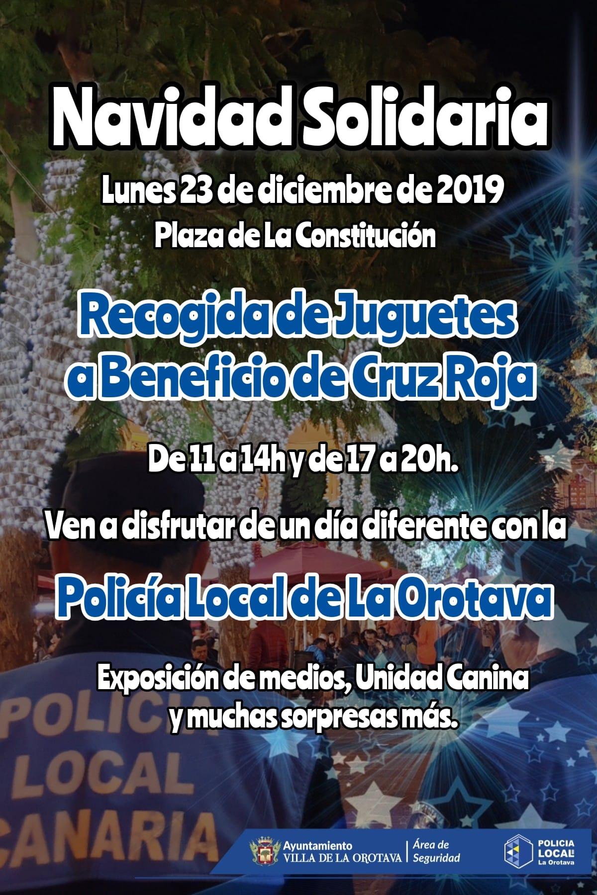 La Policía Local de La Orotava organiza una recogida solidaria de juguetes a favor de Cruz Roja