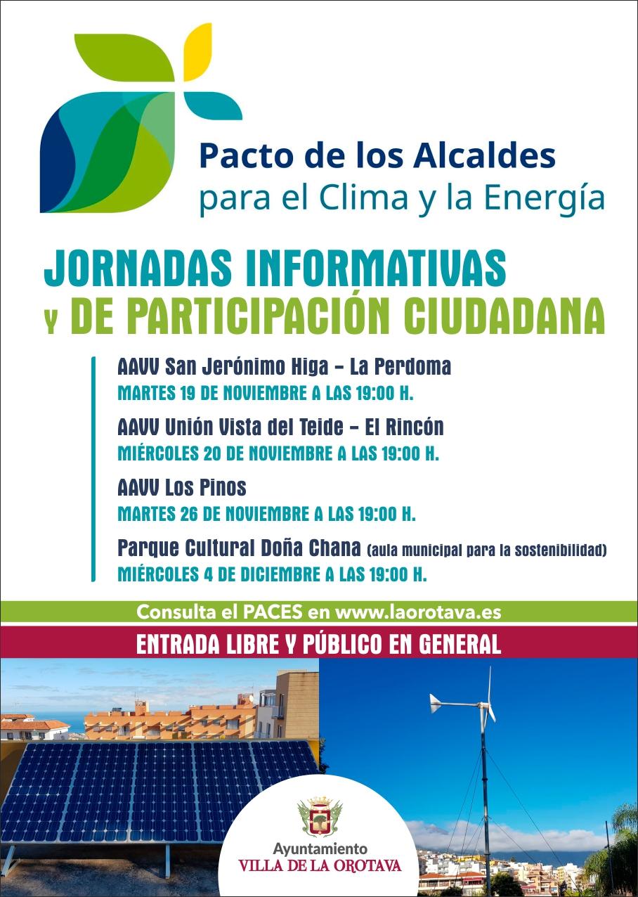 La Orotava acogerá unas jornadas para aportar ideas al documento sobre el pacto de los alcaldes por el clima y la energía