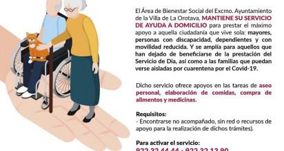 SERVICIO DE ATENCIÓN A DOMICILIO A PERSONAS NO ACOMPAÑADAS: MAYORES, CON DISCAPACIDAD, DEPENDIENTES, CON MOVILIDAD REDUCIDA Y LOS QUE HAN DEJADO DE RECIBIR EL SERVICIO DE DÍA