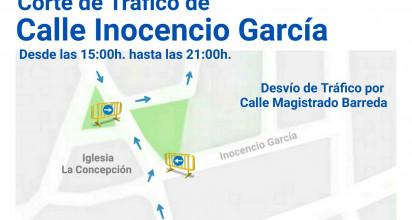 Corte de tráfico de la calle Inocencio García