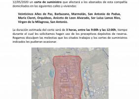 Aviso corte de suministro de agua el martes, 12 de mayo, de 09.00 a 12.00 horas en el barrio de San Antonio