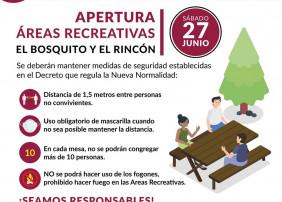 Este sábado se abren las áreas recreativas de El Bosquito y El Rincón