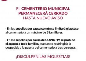 EL CEMENTERIO MUNICIPAL PERMANECERÁ CERRADO