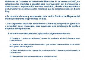 EL AYUNTAMIENTO DE LA OROTAVA INFORMA SOBRE LAS SUSPENSIONES DE ACTOS Y OTRAS MEDIDAS FRENTE AL CORONAVIRUS