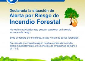 Declarada la situación de Alerta por Riesgo de Incendio Forestal