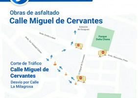 Corte de tráfico Calle Miguel de Cervantes