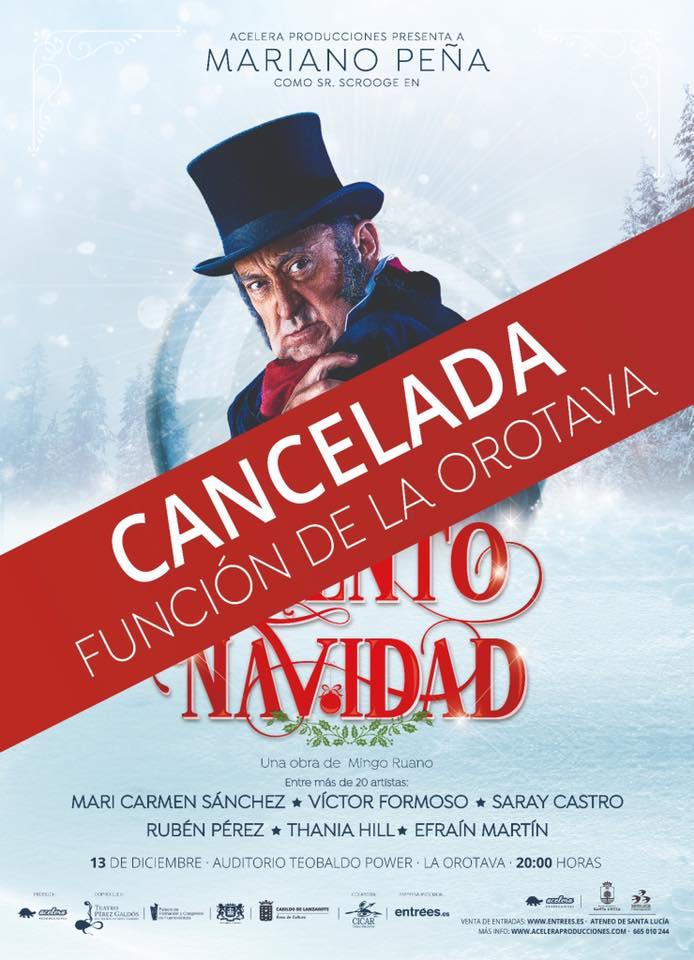 Cancelada la función del montaje 'Cuento de Navidad' en el Teatro Teobaldo Power de La Orotova