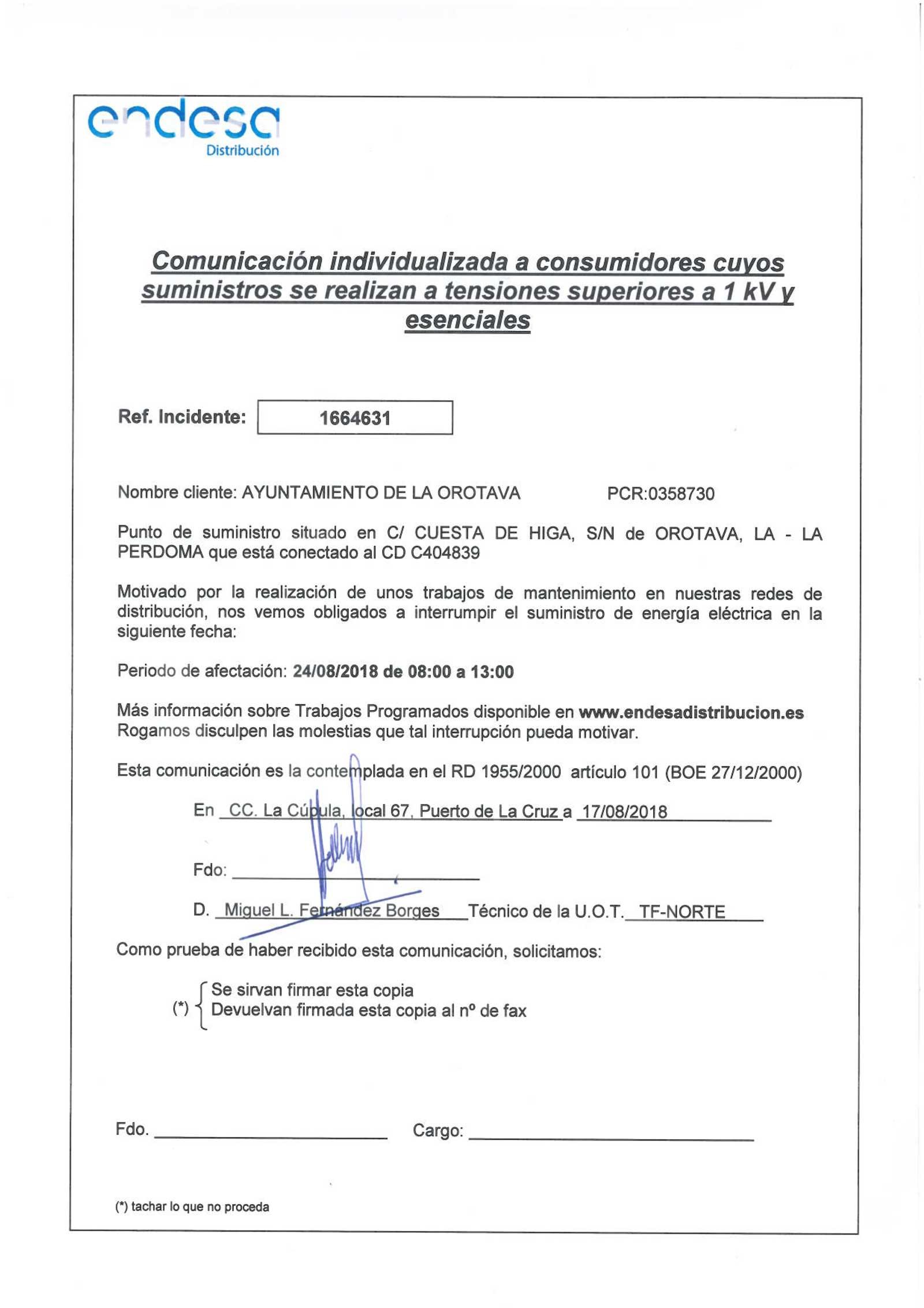 Aviso de interrupción temporal del suministro eléctrico el 24 de agosto