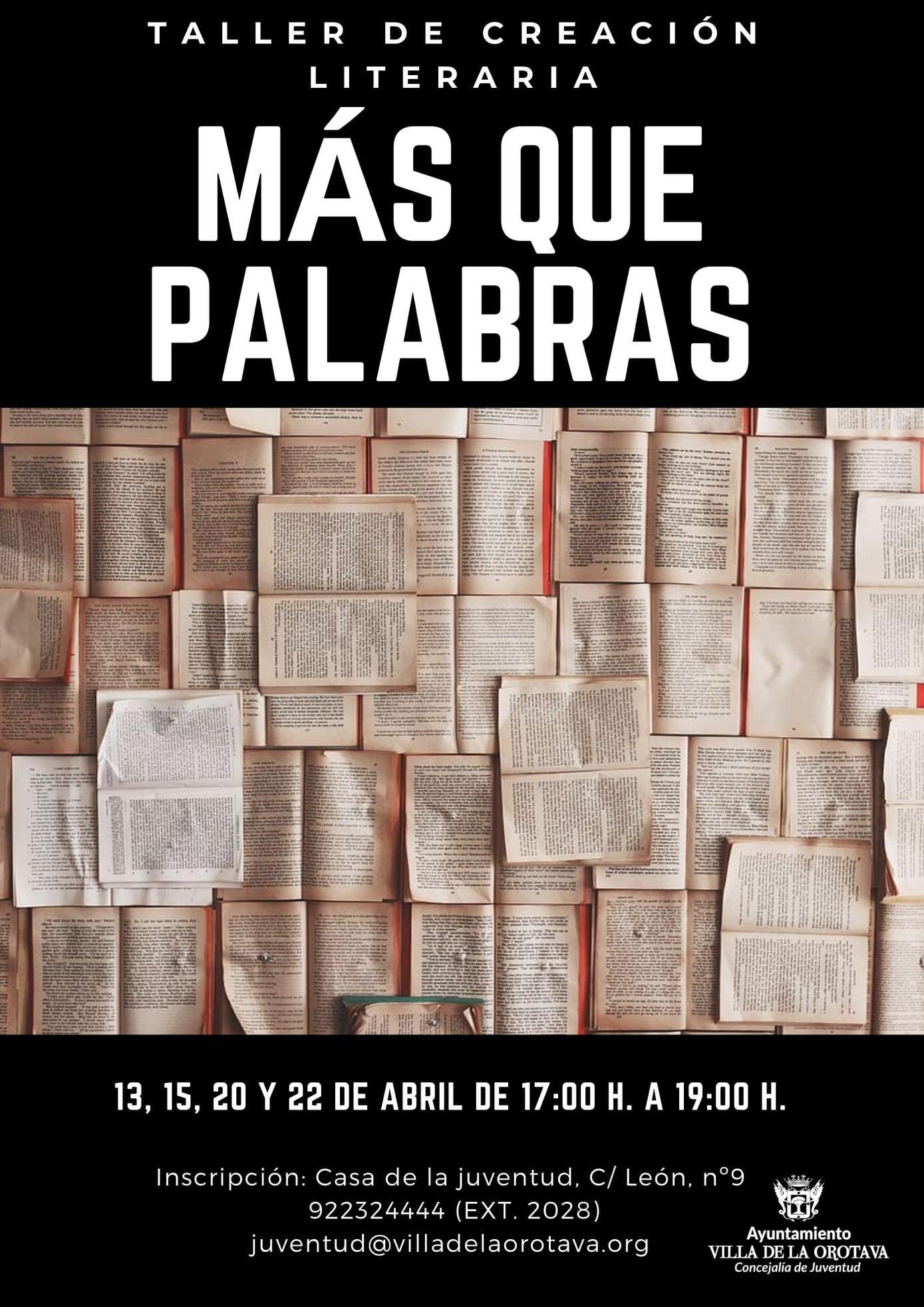 El área que dirige el concejal Darío Afonso organiza esta actividad que tendrá lugar los próximos días 13, 15, 20 y 22 de abril, entre las 17:00 y las 19:00 horas