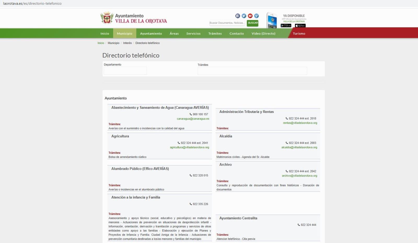 El Ayuntamiento de La Orotava pone a disposición de los vecinos y las vecinas del municipio toda la información necesaria para poder contactar tanto con las concejalías como con los servicios del consistorio