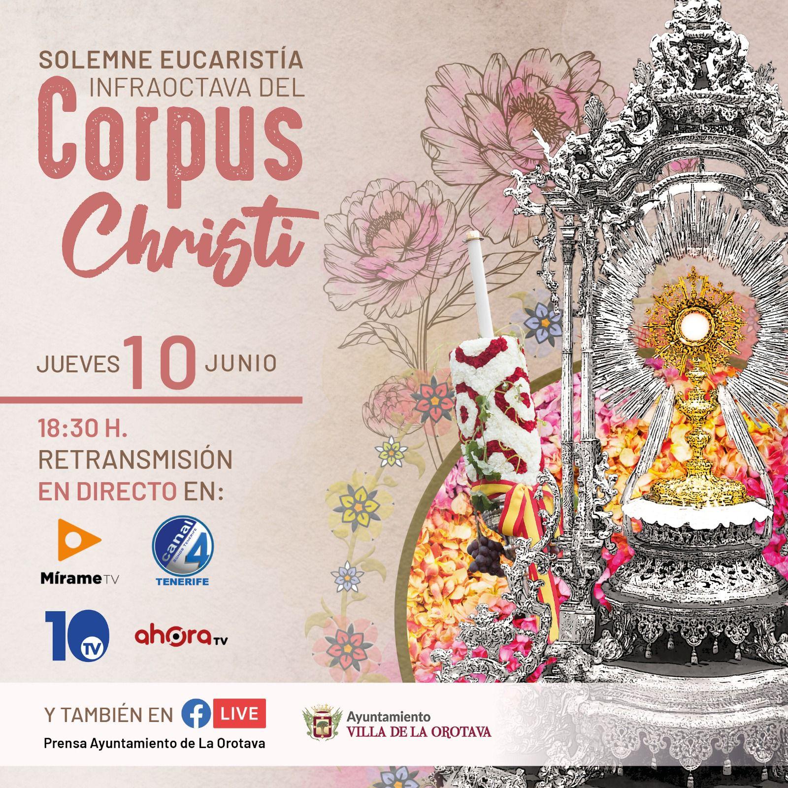La emisión será el próximo jueves 10 de junio, a partir de las 18:30 horas, y se ofrecerá en directo por Canal 4 Tenerife, Mírame Televisión, La 10 Televisión y Ahora TV, así como por la página oficial de Facebook del Ayuntamiento de La Orotava