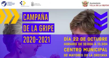 El Centro de Salud Orotava-Dehesas lleva a cabo esta iniciativa dentro en la Campaña de Vacunación contra la Gripe 2020, con un punto de vacunación que abrirá entre las 10:00 y las 13:30 horas