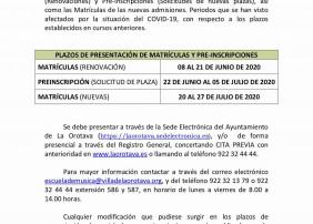 La Escuela Municipal de Música y Danza Villa de La Orotava establece los nuevos plazos de matrículas y preinscripciones