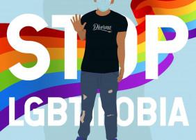 Cartel que describe a una persona del colectivo Diversas con el mensaje Stop LGBTIfobia